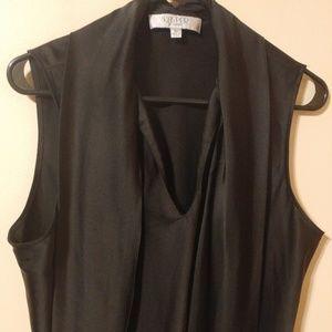 ❤️ Kasper Separates Black Sleeveless Tie Neck Top